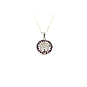 Garnet .925 Bezel Tree of Life Pendant