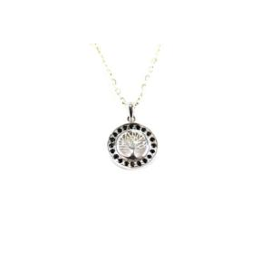 Obsidian Black .925 Bezel Tree of Life Pendant