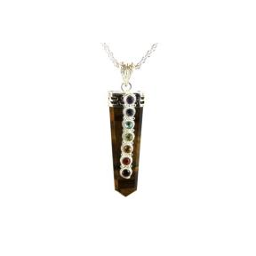 Tiger Eye, Gold Chakra Tongue Pendant