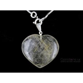 Quartz, Rutilated Heart Pendant - Medium