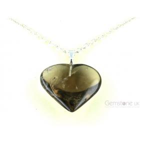 Smokey Quartz Heart Pendant - Medium