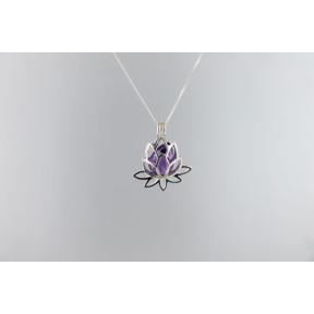 Amethyst .925 Opening Lotus Cage Pendant