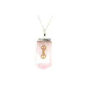 Rose Quartz Dorje Tongue Pendant