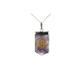 Amethyst Flower Of Life Tongue Pendant