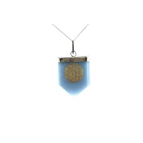 Angelite Flower Of Life Tongue Pendant