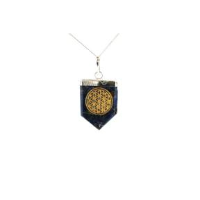 Sodalite Flower Of Life Tongue Pendant