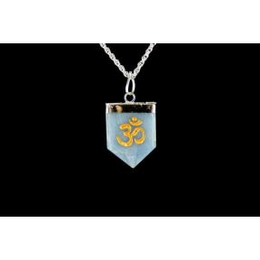 Angelite OM Tongue Pendant