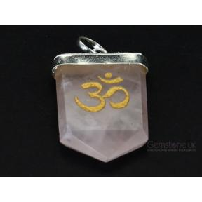 Rose Quartz OM Tongue Pendant