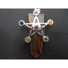 Tiger Eye, Gold Chakra Star Tongue Pendant