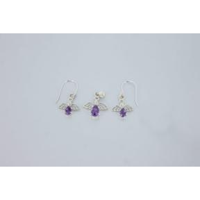 Amethyst Angel .925 Charm Set