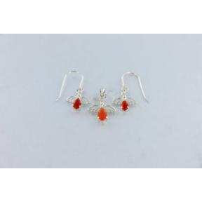 Carnelian Angel .925 Charm Set