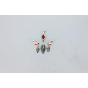 Carnelian Feather .925 Charm Set