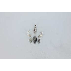 Rose Quartz Feather .925 Charm Set