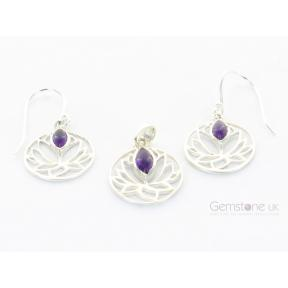 Amethyst Lotus Flower .925 Set