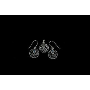 Labradorite Lotus Flower .925 Set