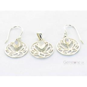 Moonstone, Rainbow Lotus Flower .925 Set